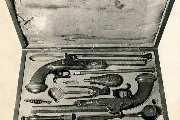 Undated picture of two muzzle-loading dueling pistols believed to be used in the duel between Senator David Broderick and Judge David Terry in San Francisco on Sept. 13, 1859.