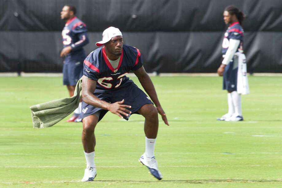 Rookie linebacker Willie Jefferson, left, would be wise to mimic veteran Bryan Braman off the field as well as on. Like Jefferson, Braman had some legal troubles in college. But Braman made the most of the chance he received and will be entering his third NFL season as a special teams standout for the Texans. Photo: Brett Coomer, Staff / © 2013 Houston Chronicle