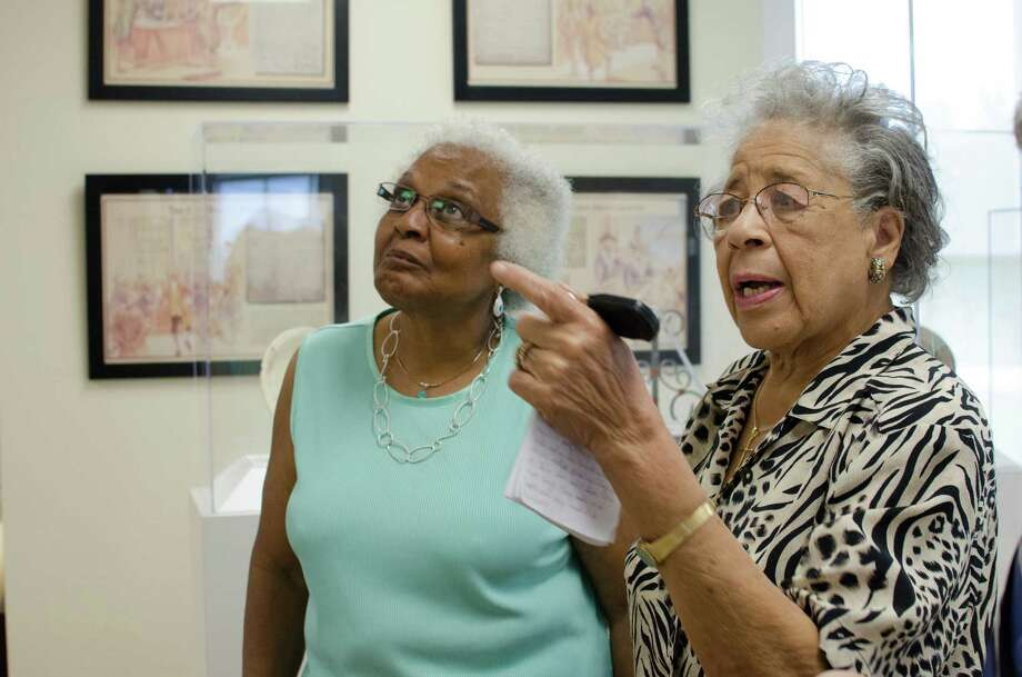 Wilma White, right, explaining parts of her family lineage to Mable Huff York, left, at the Fort Bend County Heritage Unlimited Museum, in Kendleton, Wednesday, June 12th, 2013. (Jamaal Ellis / For the Houston Chronicle) Photo: Jamaal Ellis, For The Chronicle / ©2013 Houston Chronicle