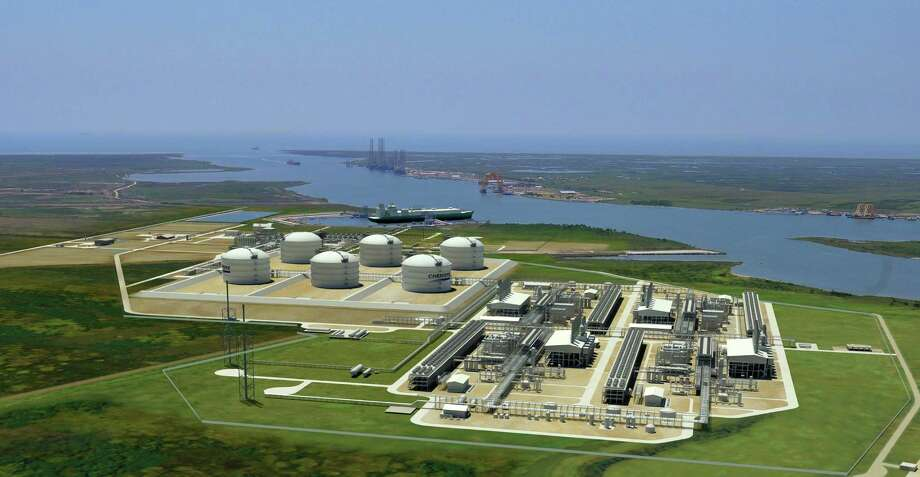 A rendering shows the natural gas liquefaction and export complex Cheniere Energy Partners is adding to its existing import terminal near Sabine Pass in Cameron County, La. Construction has begun on two of the four liquefaction trains in the foreground on the right, with construction on the two others slated to begin next year. (Cheniere Energy Partners) Photo: Cheniere Energy Partners