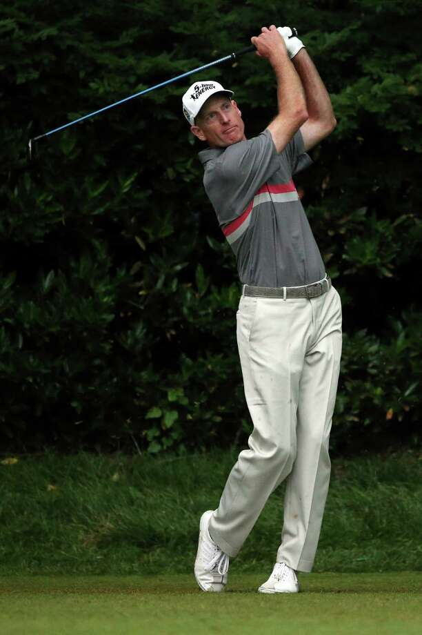 ARDMORE, PA - JUNE 13:  Jim Furyk of the United States hits his tee shot on the 11th hole during Round One of the 113th U.S. Open at Merion Golf Club on June 13, 2013 in Ardmore, Pennsylvania. Photo: Andrew Redington, Getty Images / 2013 Getty Images