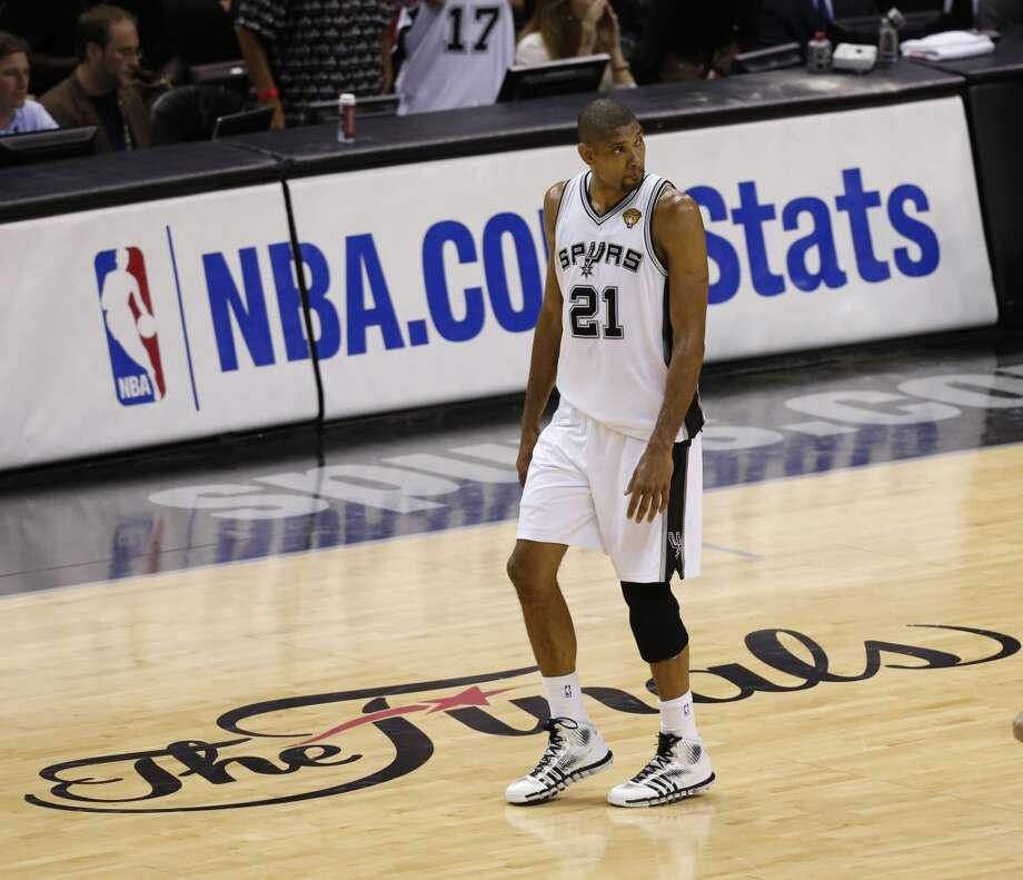 San Antonio Spurs' Tim Duncan walks up court during first half action in Game 4 of the 2013 NBA Finals against the Miami Heat Thursday June 13, 2013 at the AT&T Center. (Edward A. Ornelas/San Antonio Express-News)