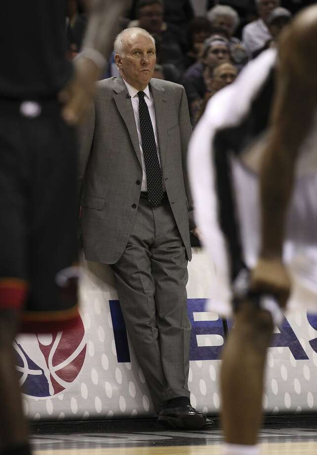 San Antonio Spurs head coach Gregg Popovich appears displeased with his team during the first half of Game 4 of the NBA Finals at the AT&T Center on Thursday, June 13, 2013. (Kin Man Hui/San Antonio Express-News)
