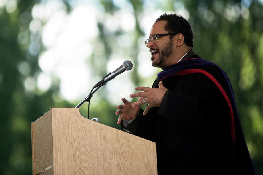 Keynote speaker Dr. Michael Eric Dyson speaks to a mass of students and their families during Franklin High School's graduation ceremony Thursday, June 13, 2013, at Memorial Stadium in Seattle. Photo: JORDAN STEAD, SEATTLEPI.COM / SEATTLEPI.COM