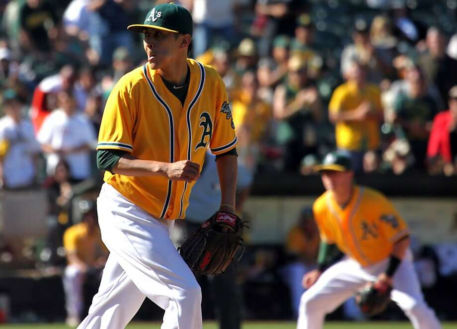 Oakland Athletics' Jesse Chavez pumps his fist after one of his six strikes outs in relief against the New York Yankees Thursday, June 13, 2013, in Oakland, Calif. Photo: Lance Iversen, The Chronicle