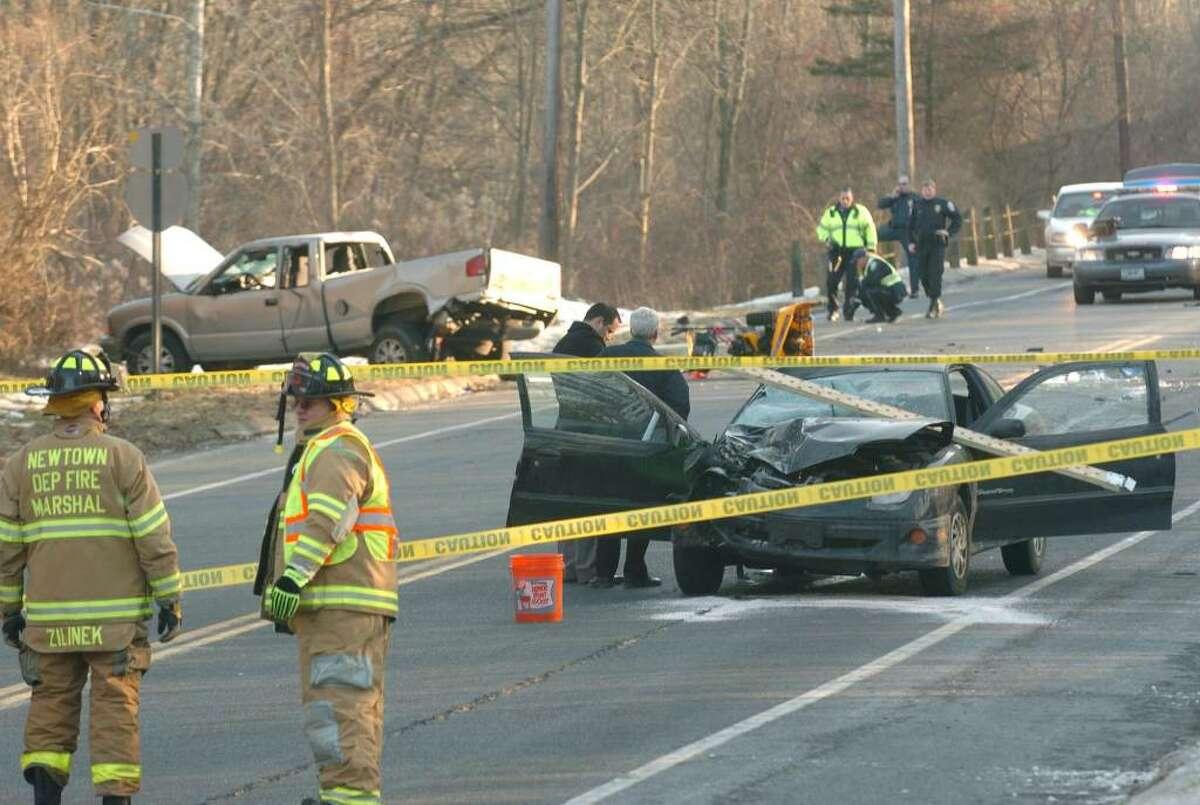 An accident on Hawleyville Rd, Newtown Thursday, Jan. 14, 2010.