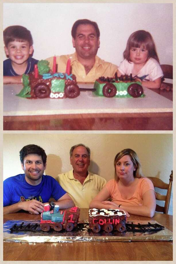 Some fathers and sons eat the same cake.