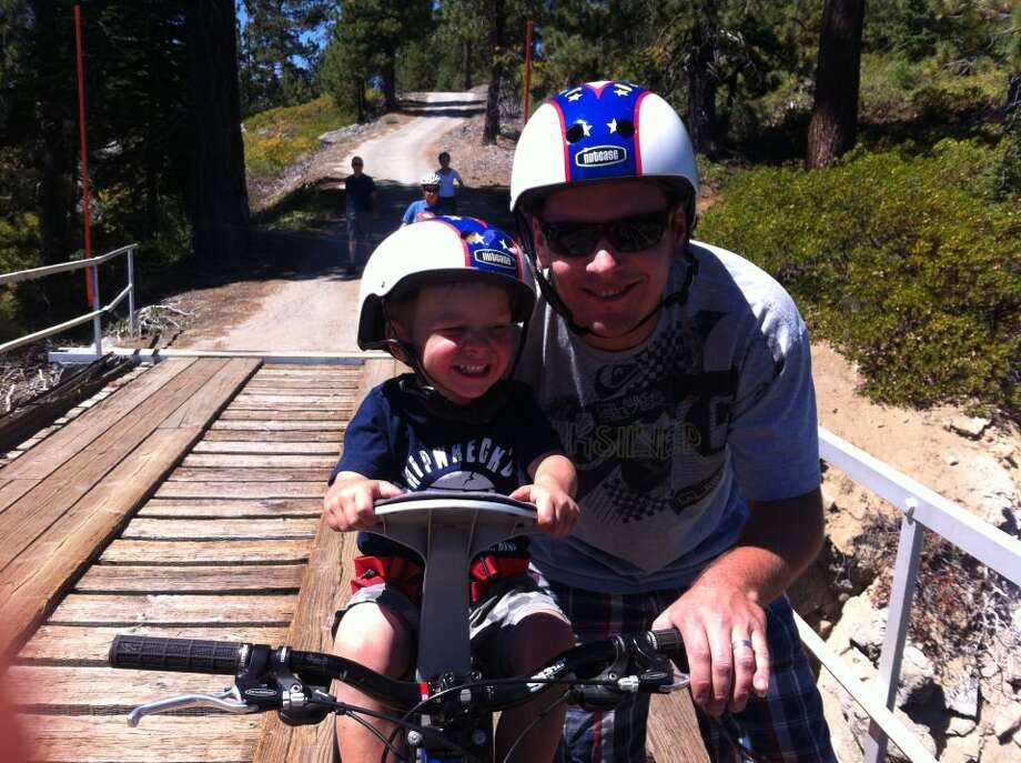 Some fathers and sons bike together. Photo: Megan-del-visco