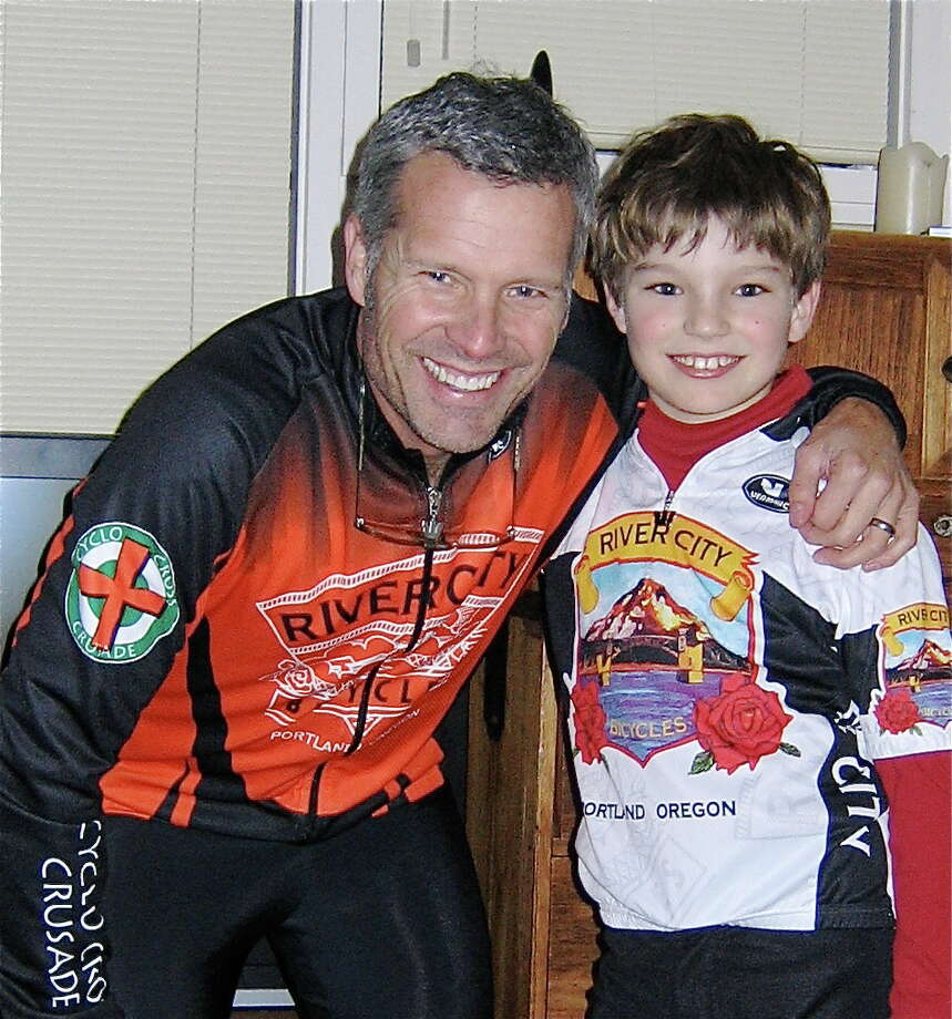 This father and son also enjoy cycling.