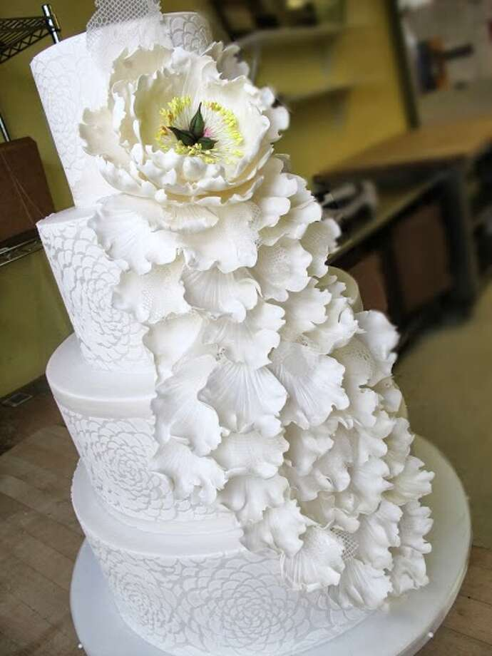 Fondant sugar pattern edible lace and handmade sugar peony cascade by Beyond Buttercream. Photo: Picasa