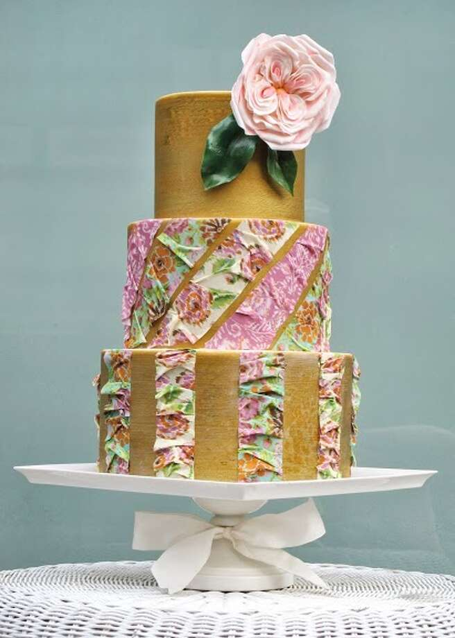 Sugar cabbage rose edible sugar images on fondant by Beyond Buttercream. Photo: Picasa