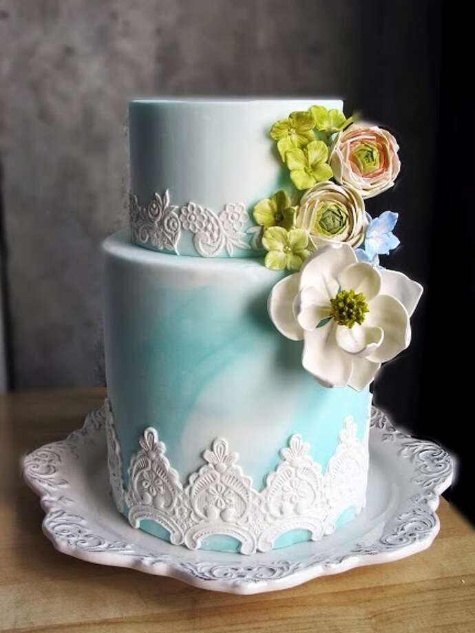 Blue marble fondant sugar lace handmade sugar flowers by Beyond Buttercream.