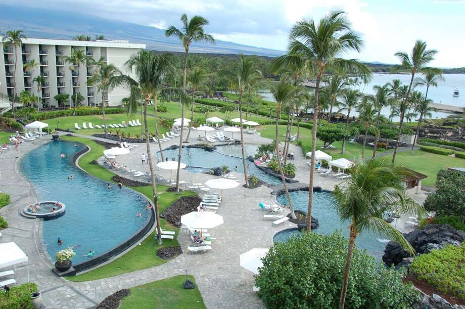 For those who tire of the ocean, an infinity-edge pool, a shallow sand-entry pool for children and a winding rock-lined pool await at the Marriott Waikoloa.