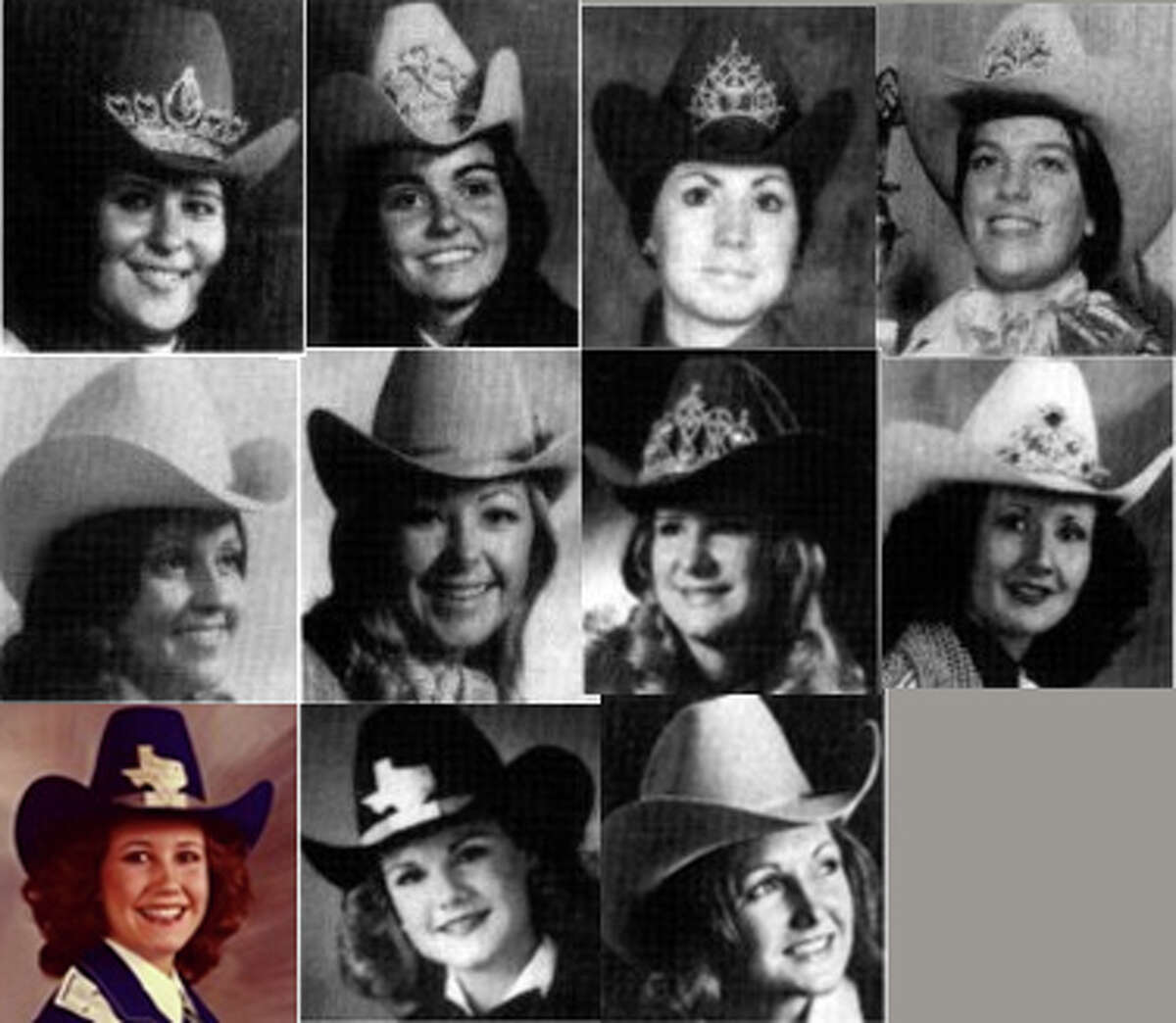 1970's Miss Rodeo Texas winners (left to right) Top row : Eunice Alexander Hammrick, 1970; Christi Eakin Massie, 1971; Debbie Carter, 1972 (deceased); Marilyn Norris, 1973Second row: Paula Davis Sweeten, 1974; Jackie Bob Riggs Cox, 1975; Glena Chapman Rutkowski, 1976; Terri Eddington Duke, 1977 (Miss Rodeo America)Bottom row: Kim Henderson Cooper, 1978; Carole Spurlock Dickey, 1979; Debbie Johnson Garrison, 1979 (Miss Rodeo America)
