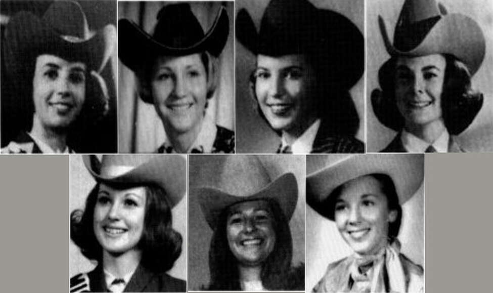 1960's Miss Rodeo Texas winners (left to right) Top row: Sandra Williams Hathaway, 1963; Sandi Prati Cardwell, 1964; Rebecca Ramsey Powers, 1965; Carolyn Saey Vietor, 1966 (also Miss Rodeo America)Bottom row: Cindy Beck Maedgen, 1967; Sonjia Neff Taylor, 1968; Becky Hemphill Greaves, 1969
