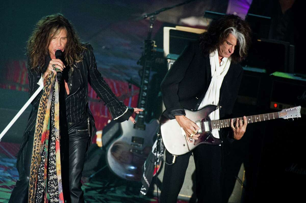 Inductees Steven Tyler, left, and Joe Perry from the band Aerosmith perform at the Songwriters Hall of Fame 44th annual induction and awards gala on Thursday, June 13, 2013 in New York.