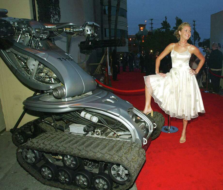 """Actress Kristanna Loken arrives at the video game launch party for """"Terminator 3: Rise of the Machines"""" at Raleigh Studios on May 12, 2003 in Los Angeles. Photo: Kevin Winter, Getty Images / 2003 Getty Images"""