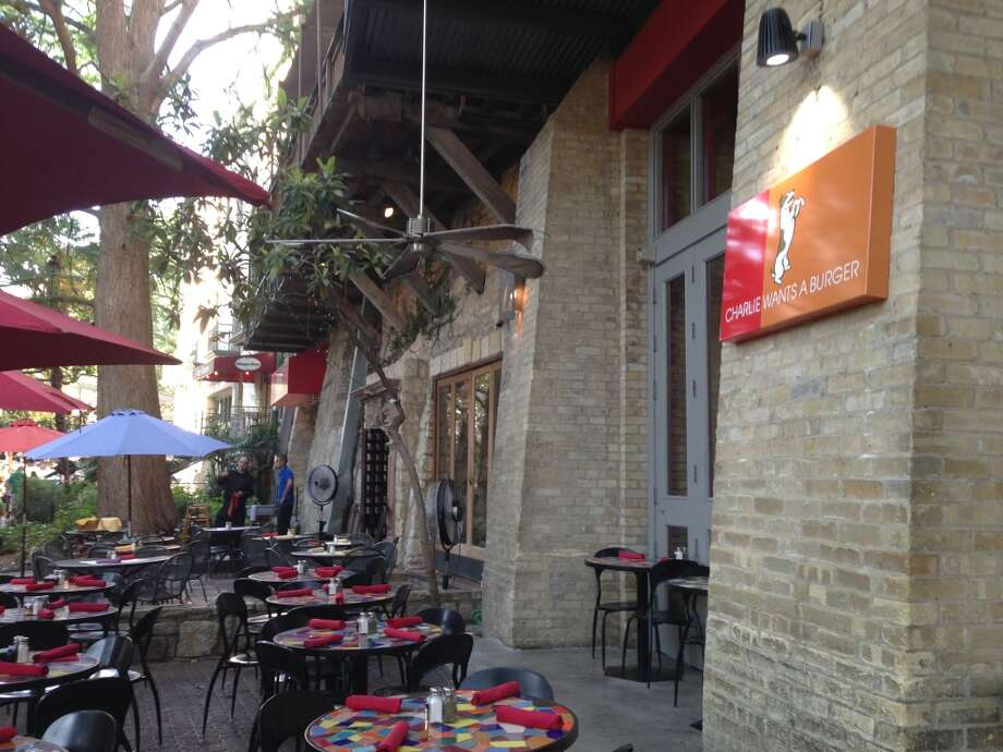 The River Walk patio at Charlie Wants a Burger