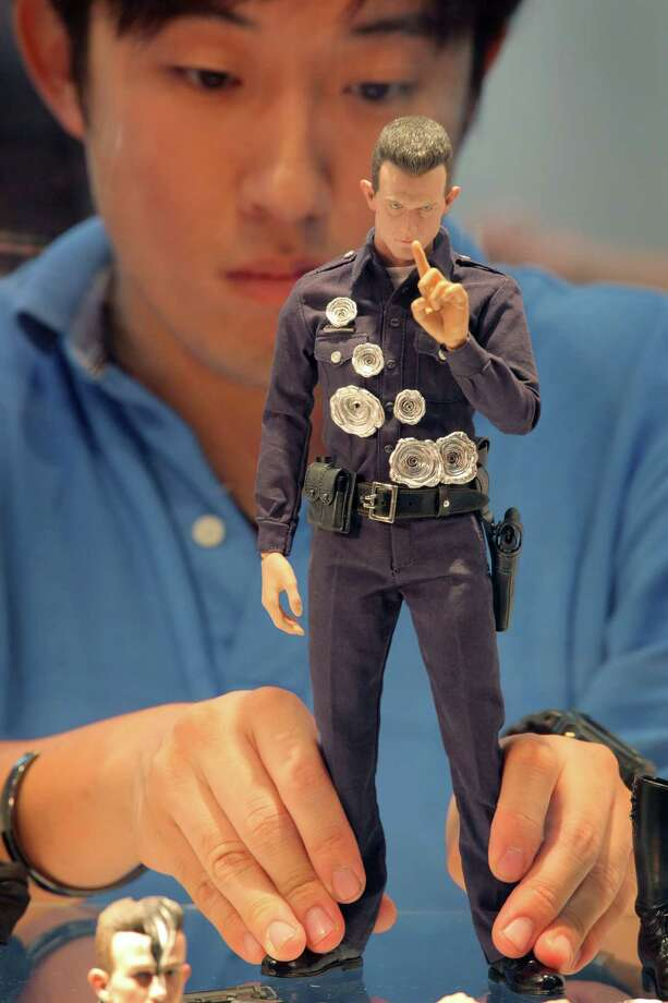 Robert Patrick's Terminator was made of liquid metal, which made shooting him (as shown on this model  at the 'Ani-Com and Games Hong Kong' fair in 2010) even less useful than it was with the original model. Photo: ED JONES, AFP/Getty Images / 2010 AFP