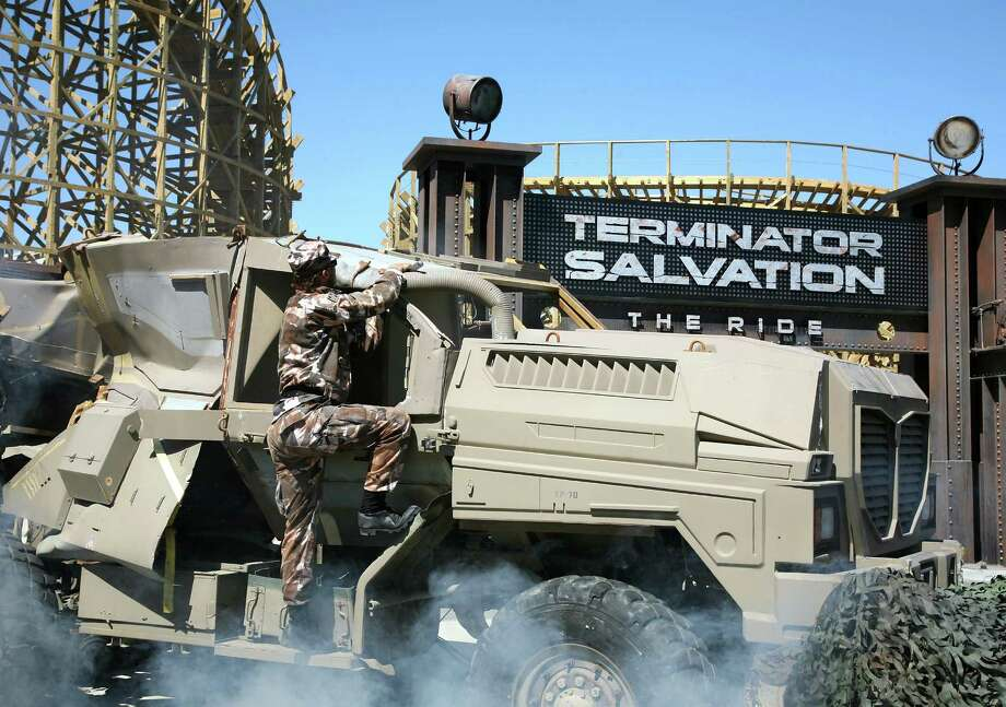 "The new wooden roller coaster ""Terminator Salvation: The Ride"" is shown at Six Flags Magic Mountain on May 21, 2009 in Valencia, California. Photo: Angela Weiss, Getty Images / 2009 Angela Weiss"