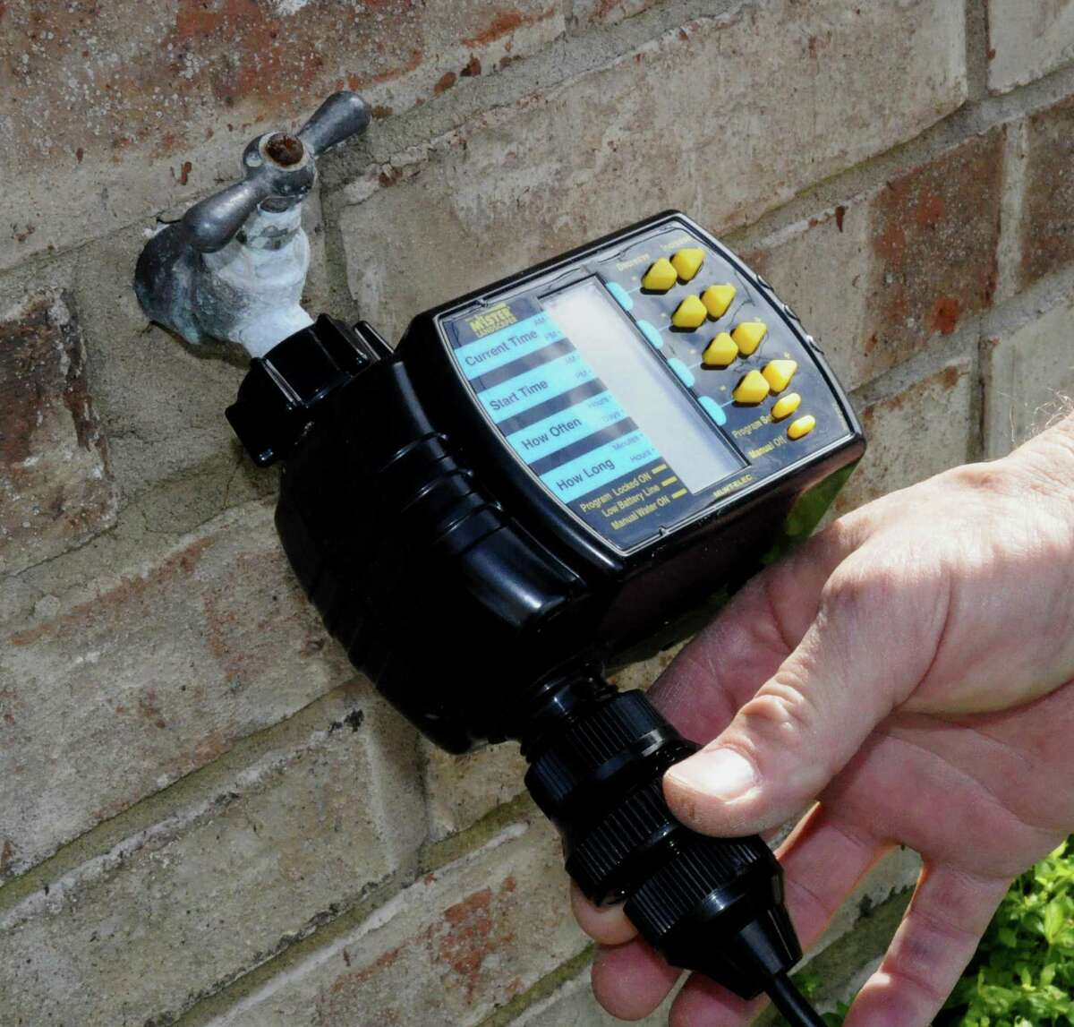 Timer attachments can control when and how long plants get watered.