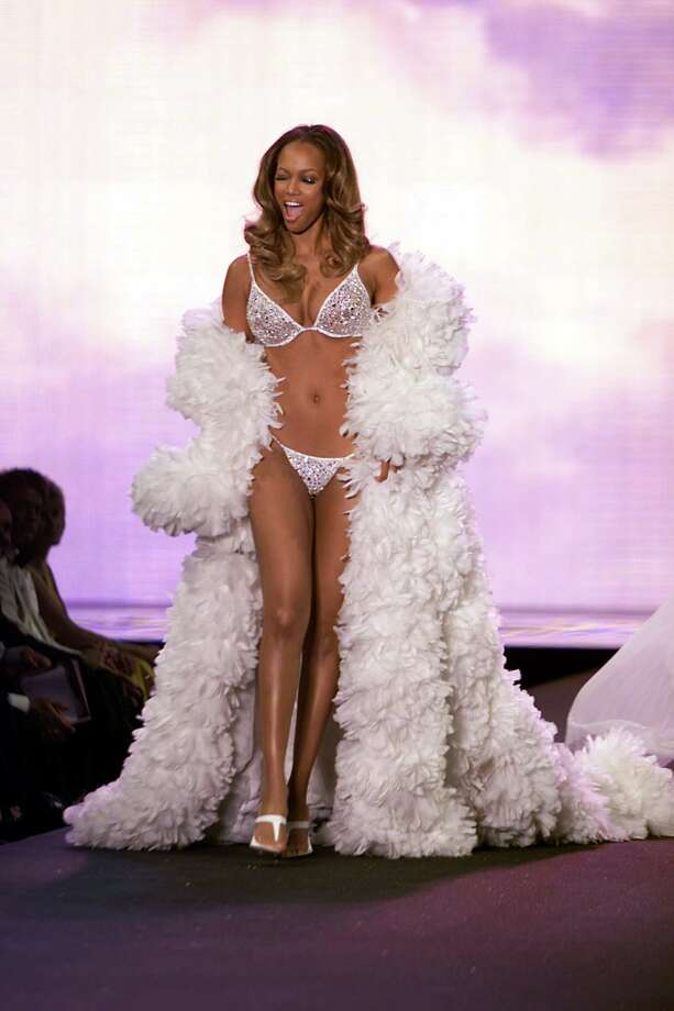 2000: Tyra Banks on the runway at the Victoria's Secret fashion show benefit for amfAR, Cinema Against Aids 2000 at the Cannes Film Festival, 5/18/00 Photo: Frank Micelotta, Getty Images / Getty Images North America