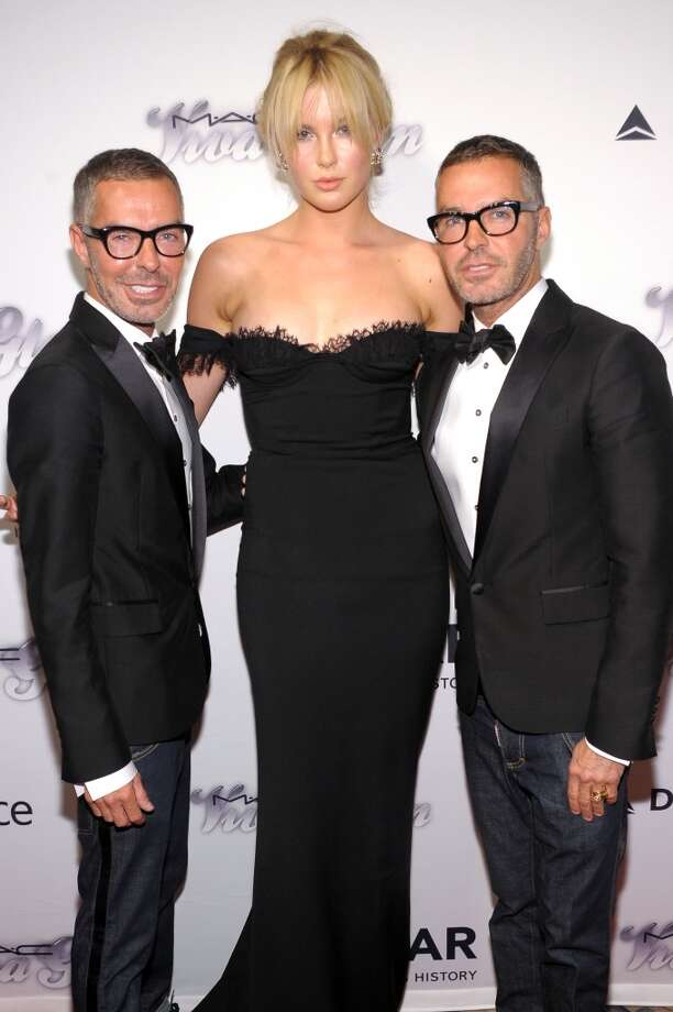 NEW YORK, NY - JUNE 13:  Ireland Baldwin poses with Dean Caten and Dan Caten of Dsquared2 at the 4th Annual amfAR Inspiration Gala New York at The Plaza Hotel on June 13, 2013 in New York City.  (Photo by Michael Loccisano/Getty Images)