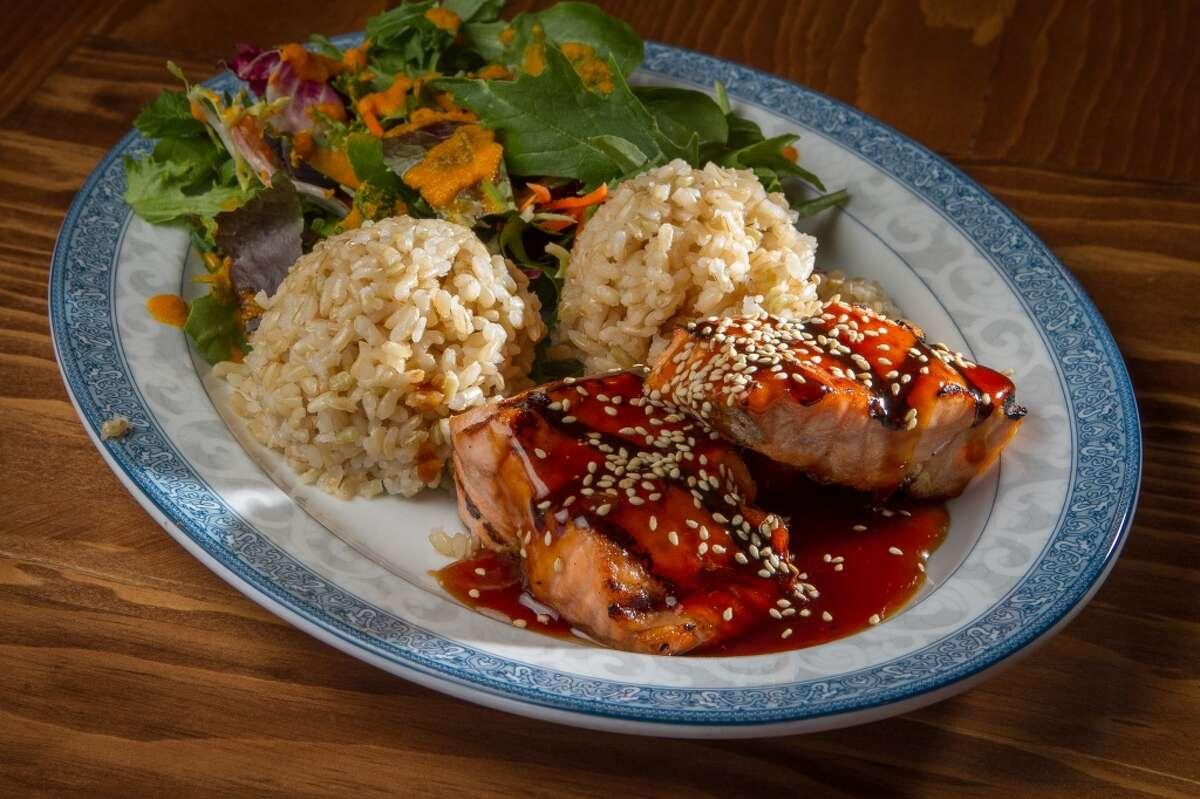 The grilled Salmon Teriyaki Plate with Brown Rice at Glaze Teriyaki Grill.