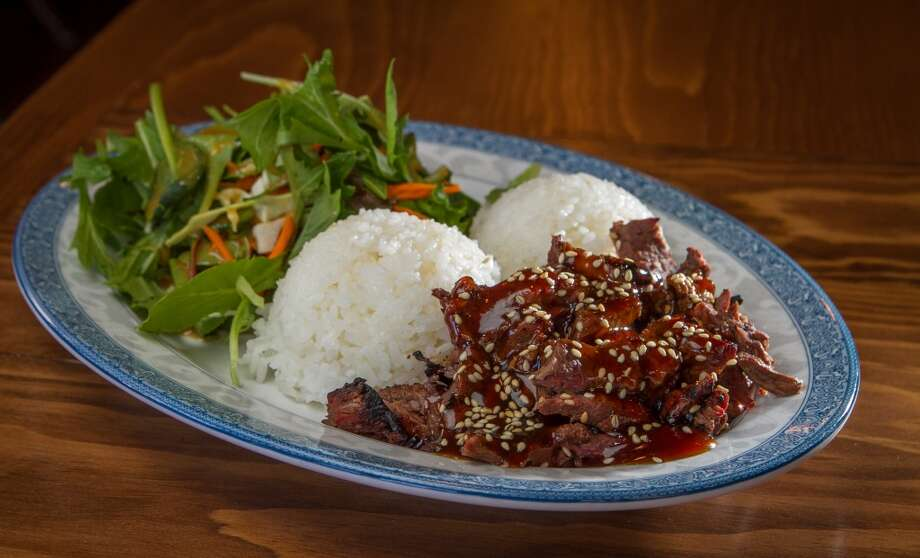 The Hanger Steak Teriyaki Plate with white rice at Glaze Teriyaki Grill in San Francisco.
