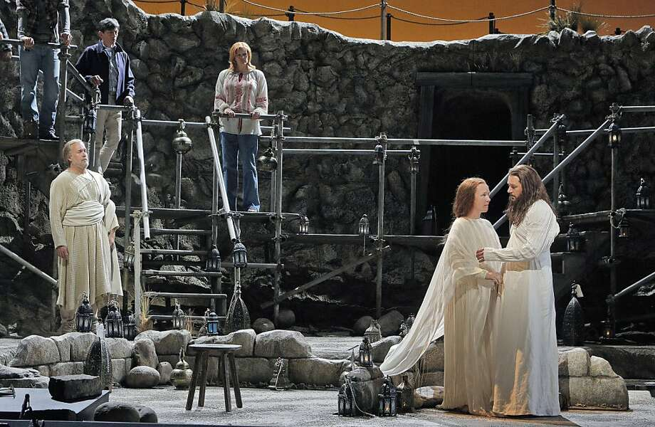 In rehearsal: William Burden (left) as Peter, Sasha Cooke as Mary Magdalene and Nathan Gunn as Yeshua, a.k.a. Jesus. Photo: Cory Weaver, SF Opera