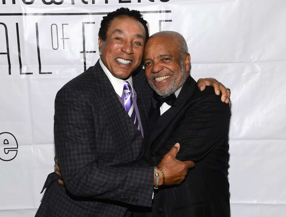 NEW YORK, NY - JUNE 13:  Smokey Robinson and Berry Gordy attend the Songwriters Hall of Fame 44th Annual Induction and Awards Dinner at the New York Marriott Marquis on June 13, 2013 in New York City.  (Photo by Larry Busacca/Getty Images for Songwriters Hall Of Fame)