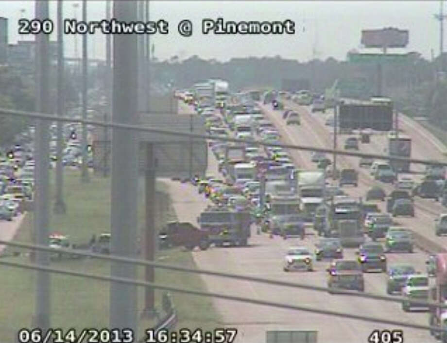 A traffic accident on 290 at Pinemont backed up rush hour traffic.