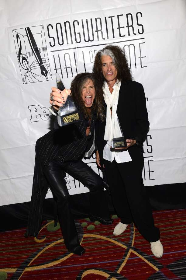 NEW YORK, NY - JUNE 13:  Steven Tyler and Joe Perry of Aerosmith attend the Songwriters Hall of Fame 44th Annual Induction and Awards Dinner at the New York Marriott Marquis on June 13, 2013 in New York City.  (Photo by Larry Busacca/Getty Images for Songwriters Hall Of Fame)