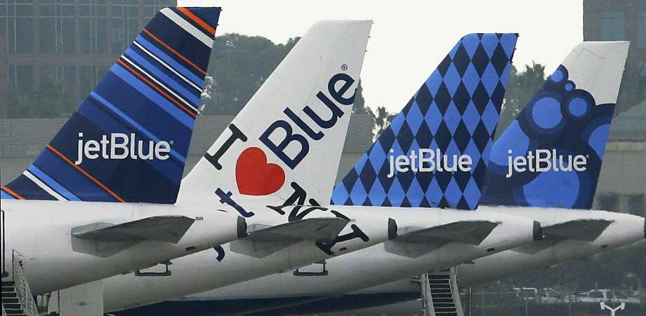 """4. JetBlue AirwaysFrom the report: """"On-time performance in 2014 improved to 75.4% from 74.4% in 2013. Jet Blue's denied boarding performance (0.22 per 10,000 passengers in 2014 up from 0,01 in 2013) is consistently among the lowest of all the airlines rated. A customer complaint rate of 1.17 complaints per 100,000 passengers was higher in 2014 (0.63 in 2013) and was below the industry average of 1.38 for 2014. Their mishandled baggage rate of 2.00 per 1,000 passengers in 2014 was third best among airlines rated but was higher than their 2013 rate of 1.91. JetBlue had the fourth best AQR score (-0.61) of the airlines rated for 2014."""" Photo: Reed Saxon, Associated Press"""