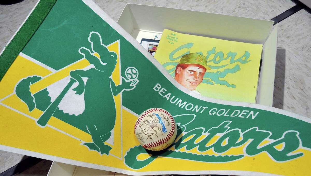 These are some souvenirs from the 1983-1986 Golden Gators Baseball team that played at Vincent-Beck Stadium. They were a minor league team affiliated with the San Diego Padres and in 1983, they won the Texas League Championships. They are being housed at the Tyrrell Library. Beaumont has a lot of history. Some of the history is found in little things that may not be available for viewing to the general public, some is found in the museums, and some is found in out of the way places that have small displays of their own. The common denominator for all is that it was created by humans and it all relates to somehow to the history of Beaumont. Dave Ryan/The Enterprise