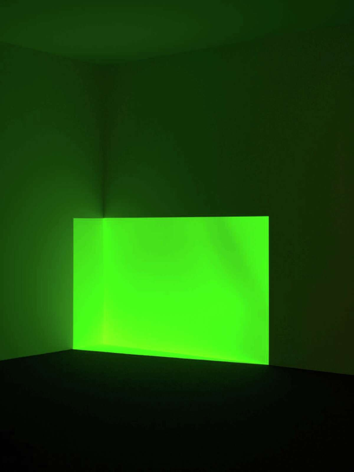 """James Turrell's """"Acro, Green"""" is a light projection designed in 1968. It's among the works by the legendary artist owned by the Museum of Fine Arts, Houston and on view in the exhibit """"James Turrell: The Light Inside."""""""