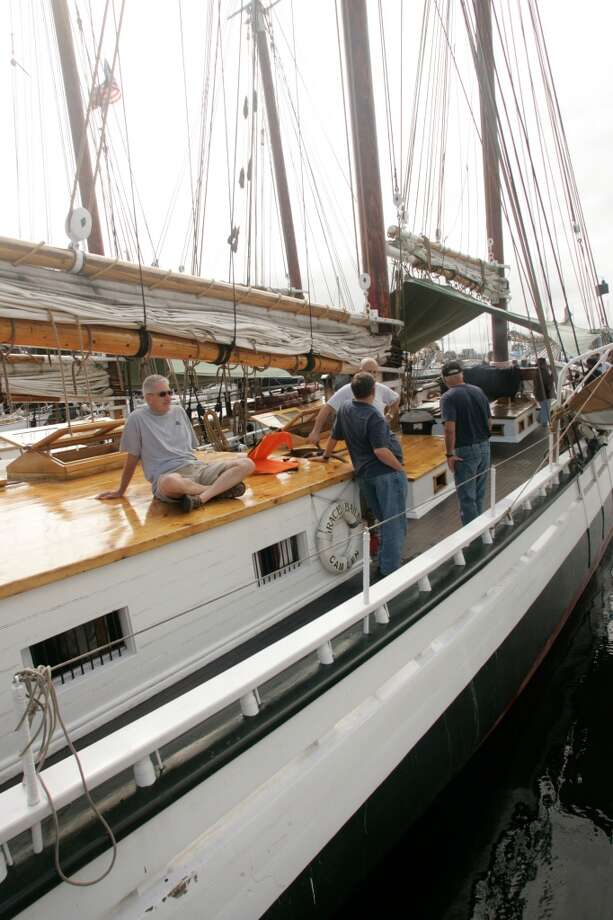 Two-masted schooner Grace Bailey, docked in Camden, Maine, prepares for a 5-day cruise around Penobscot Bay.