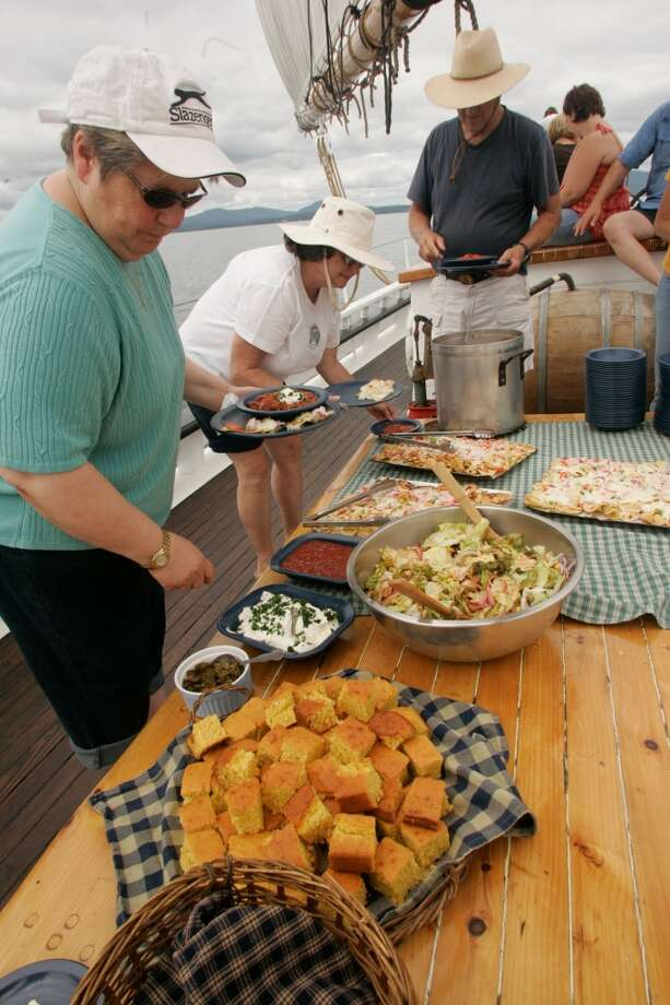 Meals, served al fresco at lunchtime, were among the highlights aboard the Grace Bailey, and were prepared in a tiny galley with a wood-burning stove.