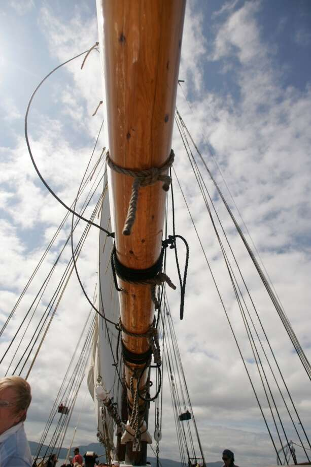 Scene from aboard the Grace Bailey, a two-masted schooner that sails Penobscot Bay, Maine.
