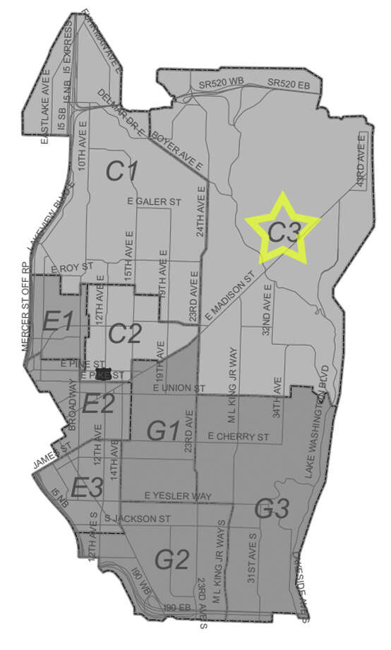8. C3: This Central District/Madrona-area beat saw 467 residential burglaries reported in the past five years. Photo: Seattle Police Maps