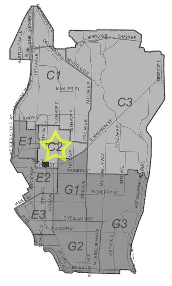 37. C2: This Capitol Hill beat saw 166 residential burglaries reported in the past five years. Photo: Seattle Police Maps