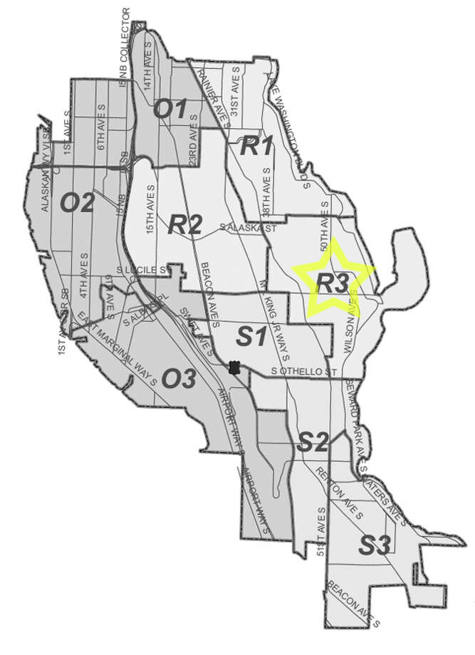 4. R3: This Seward Park-area beat saw 552 residential burglaries reported in the past five years. Photo: Seattle Police Maps