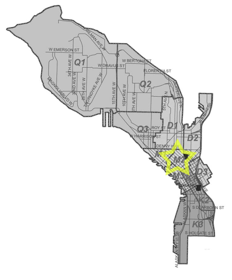47. M2: This downtown Seattle beat saw 64 residential burglaries reported in the past five years. Photo: Seattle Police Maps
