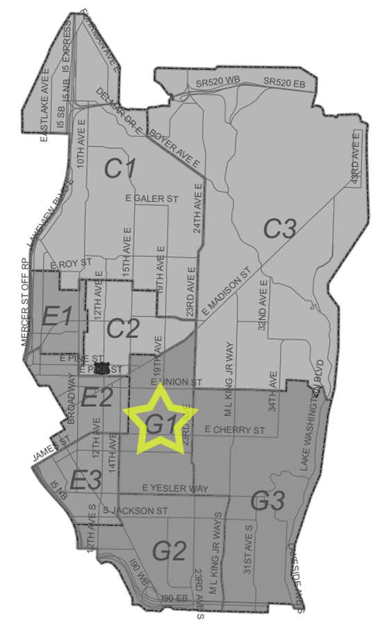 34. G1: This Capitol Hill/Central District beat saw 227 residential burglaries reported in the past five years. Photo: Seattle Police Maps