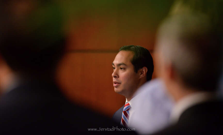 Mayor Julian Castro gives his remarks following a meeting on immigration reform at Zachry Holdings Inc. Friday morning. Photo: Robin Jerstad