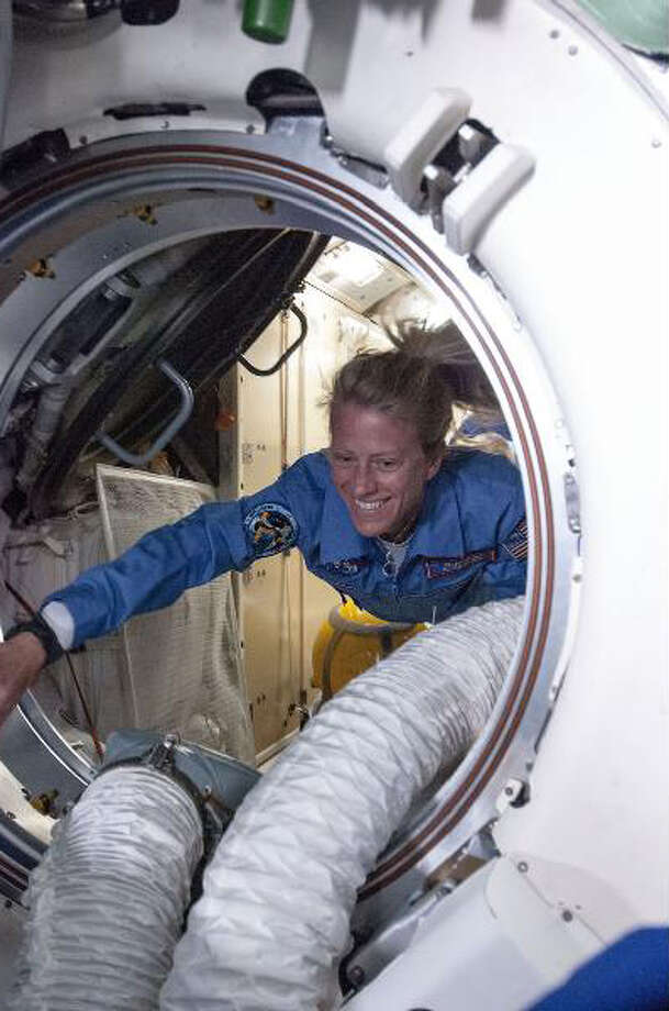NASA astronaut Karen Nyberg, Expedition 36 flight engineer, translates from the Rassvet Mini-Research Module (MRM1) into the Zarya transfer compartment on the International Space Station after arriving at the orbital outpost on May 29. Nyberg and two other flight engineers -- cosmonaut Fyodor Yurchikhin of Russia's Federal Space Agency (Roscosmos) and astronaut Luca Parmitano of the European Space Agency -- were launched earlier in the day aboard a Soyuz TMA-09M spacecraft. The trio is slated for a 5 1/2 month stay aboard the station.