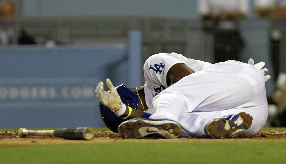 Yasiel Puig of the Dodgers was hit by a pitch from the Diamondbacks' Ian Kennedy on Tuesday before a brawl broke out between the two clubs. Photo: Gina Ferazzi / McClatchy-Tribune News Service