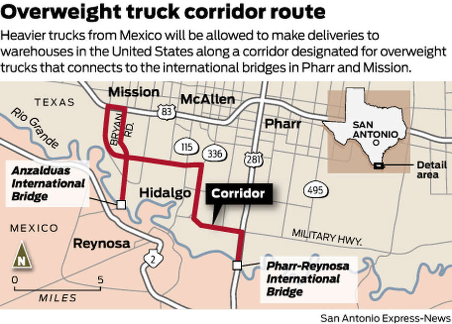 Heavier trucks from Mexico will be allowed to make deliveries to warehouses in the United States along a corridor designated for overweight trucks that connects to the international bridges in Pharr and Mission. Photo: Mike Fisher