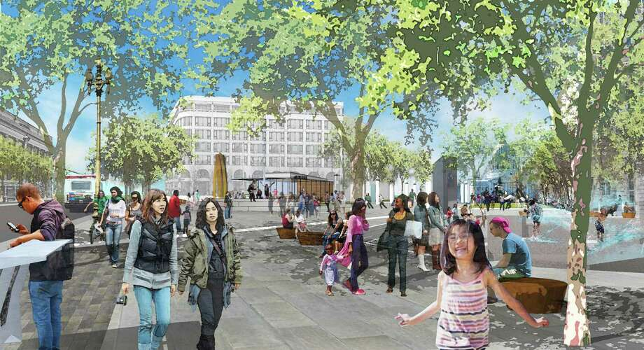 An image from the Better Market Street planning effort, this one of United Nations Plaza. And with a Richard Serra sculpture in the back, to boot. Photo: - / SF Department Of Public Works / ONLINE_YES