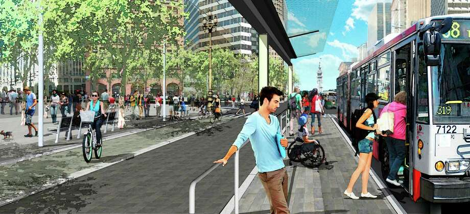 The city's effort to redesign Market Street is ongoing, but this 2013 image of a new Muni boarding platform shows a diversity of transportation methods — but no automobiles and, even though the setting is the Financial District, nobody is wearing a jacket or tie. Photo: - / SF Department Of Public Works / ONLINE_YES